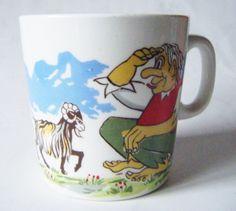 "Vintage Figgjo Flint Norway Childs Porcelain Cup Mug ""Three Billy Goats Gruff"" Pattern Rare by parkledge on Etsy"