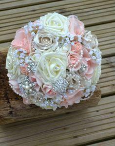 Bridal bouquet. Peach/Ivory.Gems, brooches & Pearls