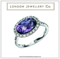 #Amethyst ring with Pave white #Sapphire from the #London #Jewellery Company, England.