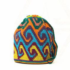 Handmade Oaxaca, pronounced [wuh-hah-kuh], Mochila Bags take approximately 14 or more days to complete using the crochet / weaving technique. Adjustable tie strap. Enclosure: Drawstrings One-Of-A-Kind