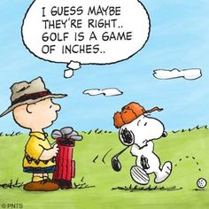 Charlie Brown and Snoopy golfing