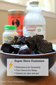 Tart cherry to help keep you from tossing and turning when you should be sleeping, elderberry flowers and berries for immune properties, and gelatin to help prevent dry-air-caused nose bleeds.  Gummies for your super hero this winter!