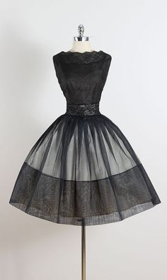 Blackbird Chain ➳ vintage 1950s dress * semi sheer black organza * cream acetate lining * black floral lace accents * metal back zipper condition | excellent