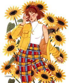 Liya Draws on Instagram #art #illustration #watercolor #sunflowers #girlportrait #fashionillustration #femalecharacter