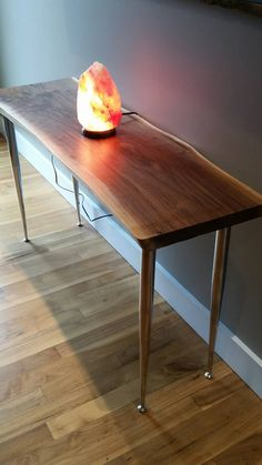 walnut live edge console table/ slab table by Elledesigninc