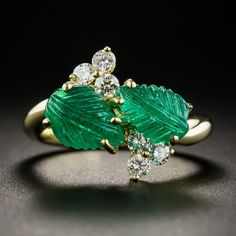 Carved Emerald Diamond Ring