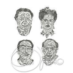 MACHINE EMBROIDERY DESIGNS - Set Frida Kahlo, Diego Rivera, Salvador Dali, Pablo Picasso