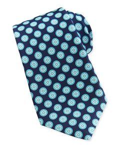 Round-Floral Silk Tie, Aqua by Kiton at Neiman Marcus.