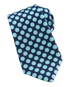 Round-Floral Silk Tie, Aqua by Kiton at Neiman Marcus.