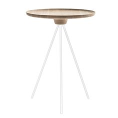Key side table consists of a solid ash top resting on a light metal legs. The tripod structure gives the side table a light appearance, being modern at the same time.