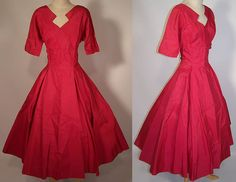 Vintage Fuchsia Pink Silk Taffeta Circle Skirt A-Line Party Dress