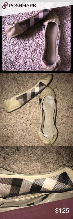 Burberry ballerina flats size 5.5 - Khaki Check Gorgeous Burberry flats, barely used in that beautiful khaki color with black and khaki check. Worn only a handful of times. There is a small mark on the outside of the left shoe as pictured. Burberry Shoes Flats & Loafers