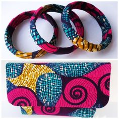 Small African Print Clutch Bag & Bangle Set by BeaullahsBoutique, £45.00
