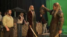 Thranduil And Legolas Behind The Scenes - The Hobbit The Desolation of Smaug Legolas And Tauriel, Thranduil, Nativity Costumes, The Hobbit Movies, Desolation Of Smaug, Jackson, Lee Pace, Jrr Tolkien, Great Stories