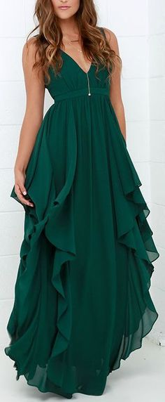 Water-Falling for You Dark Green Maxi Dress - Mode Féminine Trendy Dresses, Lace Dresses, Short Dresses, Plus Size Formal Dresses, Dress Formal, Sexy Dresses, Green Maxi, Green Gown, Jade Green Dress