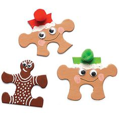 Instead of throwing out those puzzles with missing pieces, turn what's left into a cast of holiday characters. Fun DIY crafts project for kids.