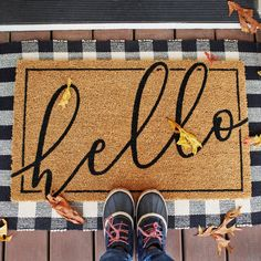 A herringbone jute rug makes a great back drop for the printed coir mat to give an attractive layered look to your entryway. #outdoor #fall #welcome #hello #lowes