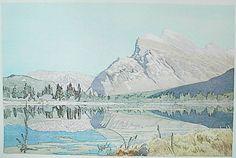 Walter J. Phillips (1884 - 1963) Mount Rundle, 1950, colour woodcut