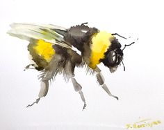 Bumblebee Oriignal painting watercolor 10 x 8 in by ORIGINALONLY, $24.00