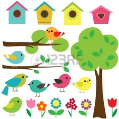 Set birds with birdhouses, trees and flowers. photo