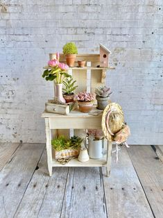 Dollhouse Miniature  Filled Aged Wooden Garden Potting Table ONLY