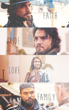 I think Athos should represent honor instead of Pride. All of the others have a more positive connotation while pride is often considered a negative trait.