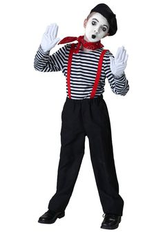 These 13 DIY Costumes For Kids Can Be Accomplished With 1 Pair of Overalls Mime What you need: Black overalls, black-and-white striped shirt, black beret, white gloves, face makeup, and a silent child (a joke, obviously)