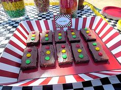 Stoplight brownies at a Cars Party #cars #partyfood