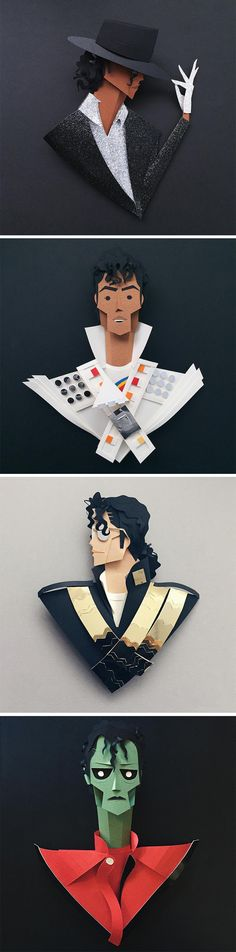 The Many Faces of Michael Jackson, a Tribute in Paper by Belinda Rodriguez #paperart #paper #art