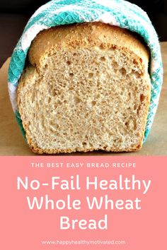 Looking for a healthy bread recipe? You've got to try this no-fail healthy whole wheat bread! It's one of the easiest homemade bread recipes there is. You can't go wrong! Healthy Desserts For Kids, Healthy Bread Recipes, Dessert Recipes For Kids, Vegan Lunch Recipes, Healthy Meals For Kids, Healthy Snacks, Dinner Recipes, Healthy Vegetarian Breakfast, Healthy Breakfast For Kids