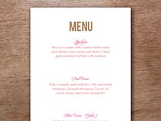 Vintage knife and fork printable menu template. Two to a page ...