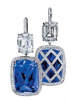 Sapphire and diamond earrings.