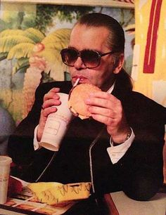 Karl Lagerfeld eating at McDonalds in the 90s | Rare and beautiful celebrity photos  #Expo2015 #Milan #WorldsFair