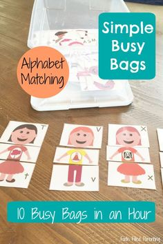 10 Simple Busy Bags in Under an Hour. This matching puzzle is perfect for my preschooler. Toddler Preschool, Preschool Activities, Travel Activities, Busy Boxes, Preschool Printables, Education Quotes For Teachers, Education English, Learning Quotes, Quotes For Kids