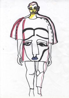 Abstract Fashion Illustration- Sharpie and Crayon on Paper.