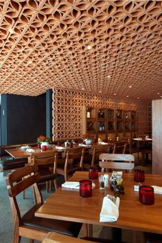 Modern Moroccan: Another creative use of wood to enhance your dining experience.