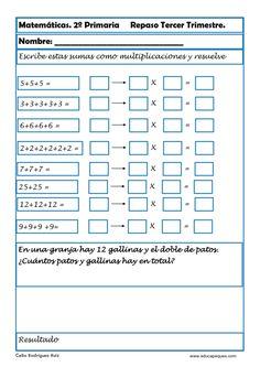 Fichas con ejercicios de matemáticas segundo primaria Vamos a repasar matemáticas en segundode primaria para niños de 6-7 y 8años Primary Maths, France, Periodic Table, Homeschool, Learning, Google, Activities, Brunette Girl, Multiplication Activities