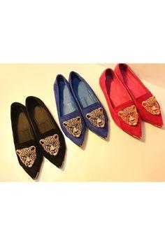 Leopard Head Embellished Court Shoes \