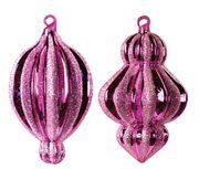 Pretty in Pink Glitter Striped Fuchsia Glass Christmas Ornaments