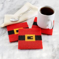 Santa Belt Coasters - Christmas Perler Project Pattern - a sleigh holder or an elf hat maybe