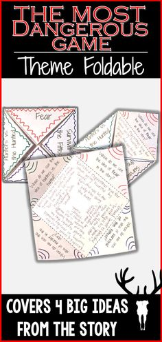 """Analyze four big ideas from """"The Most Dangerous Game"""" by Richard Connell in this theme activity foldable."""