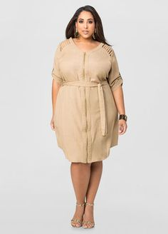 Linen Caged Shoulder Dress