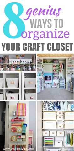 the best ways to organize your craft room closet. From big to small, here are several examples that will work for you.Find all the best ways to organize your craft room closet. From big to small, here are several examples that will work for you. Craft Room Closet, Craft Closet Organization, Craft Room Storage, Closet Storage, Organization Ideas, Playroom Closet, Bathroom Closet, Attic Storage, Storage Ideas