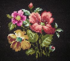 Needlepoint Stitchery for pillow or stool cover at auntiemeowsatticprims