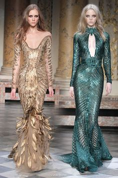 Beautiful couture collection by Zuhair Murad - off-shoulder gold feather dress and deep jewel green halter neck keyhole