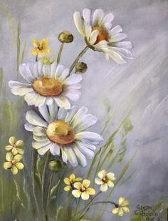 Daisy Painting, Acrylic Painting Flowers, Acrylic Art, Watercolor Flowers, Painting & Drawing, Watercolor Paintings, Paintings Of Flowers, Simple Flower Painting, Flowers On Canvas