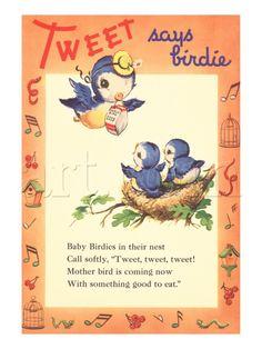 """Adorable vintage bluebird print """"Tweet says birdie"""""""