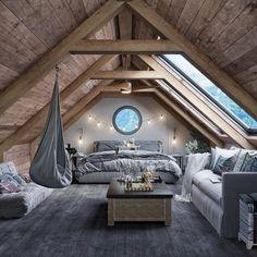 Attic Bedroom Designs, Room Ideas Bedroom, Bedroom Decor, A Frame Bedroom, Lofted Bedroom, Attic Bedrooms, Home Room Design, Dream Home Design, 2 Bedroom House Design