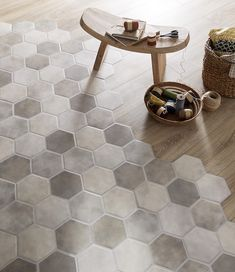 THE design touch of the moment for your interior? A mixture of tiles and parquet to define your spaces. Our FARO tiles go perfectly with wood. # know how to do in France Floor Design, Patio Design, House Design, Parquet Flooring, Kitchen Flooring, Parquet Tiles, Floors, Home Renovation, Home Remodeling