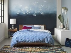 blue chevron bed linens  | CB2